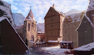 Study on a medieval town, during winter -1-
