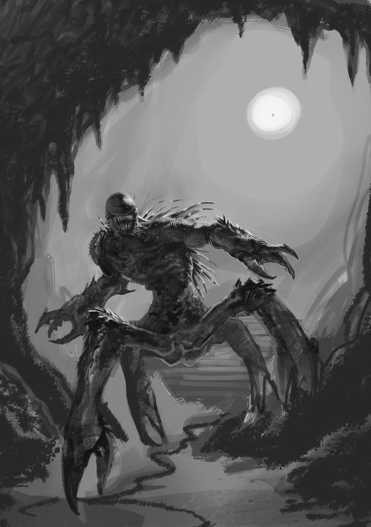 Concept for a sea monster, Full figure - Step 1 - by DrManhattan-VA