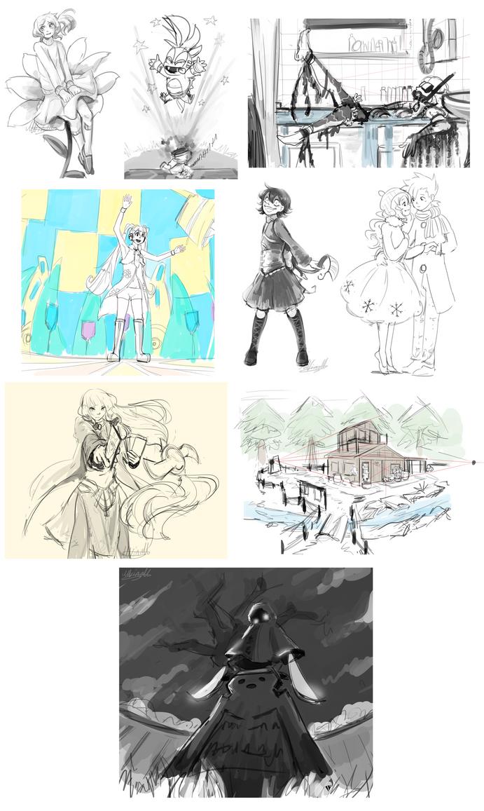 Sketch-a-day Days 23-31 by Lubrian