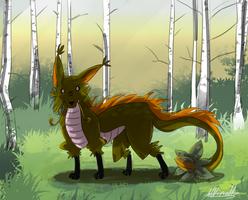 Fox Flower Dragon concept by Lubrian