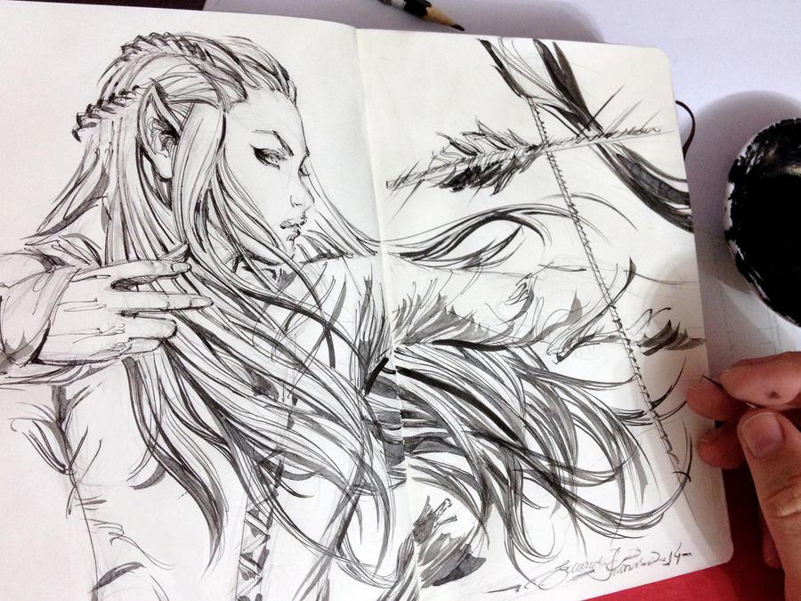 Sketch, Tauriel by eDufRancisco