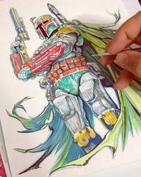 Boba Fett, watercolor