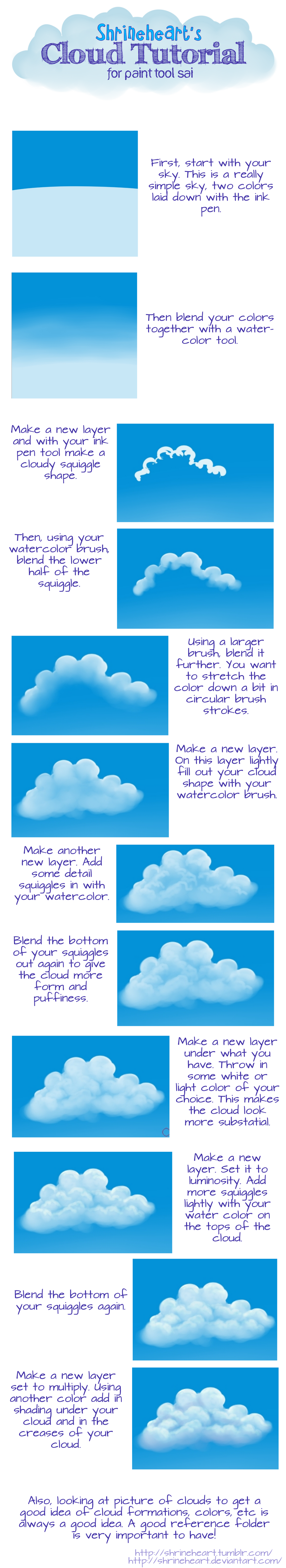 Tutorial: Paint Tool Sai Clouds by Shrineheart