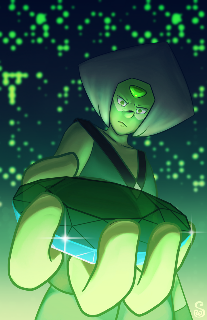 Peridot is frequently brought the gem of whichever gem she happens to be working with if they were too grievously injured in combat. She looks after them until they're ready to regenerate. In this ...