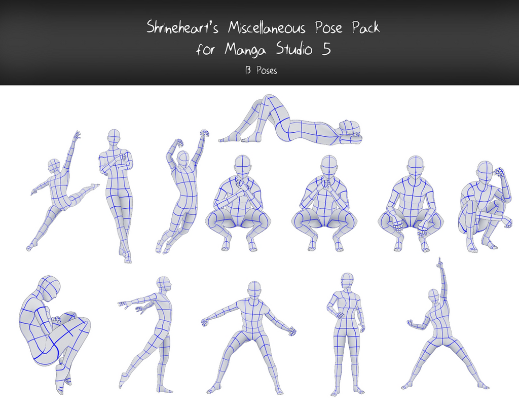 Manga Studio 5 Miscellaneous Pose Pack By Shrineheart On