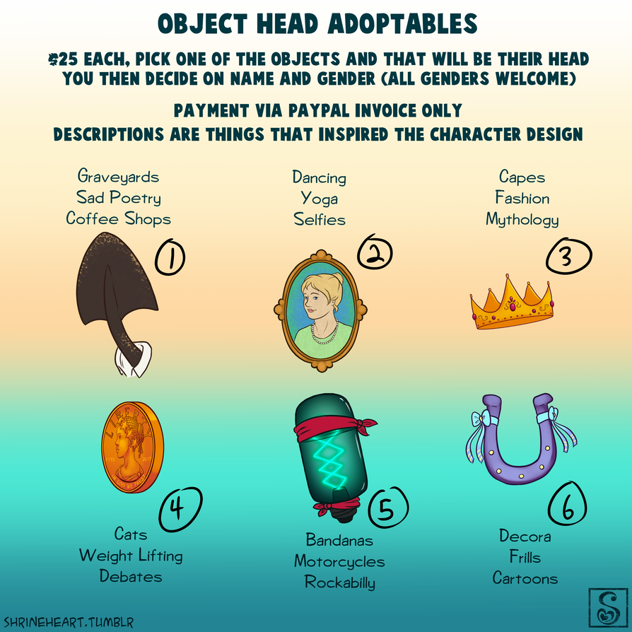 OPEN Adoptable Object Heads by Shrineheart