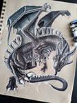 Flying Dragon (Tan toned paper)