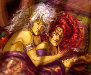 TES: Almalexia and Vivec by ArainMorn