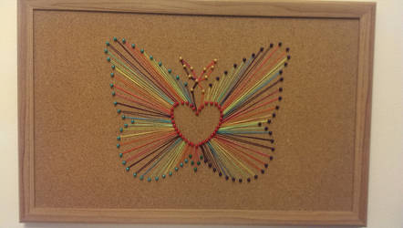 Rainbow butterfly string art