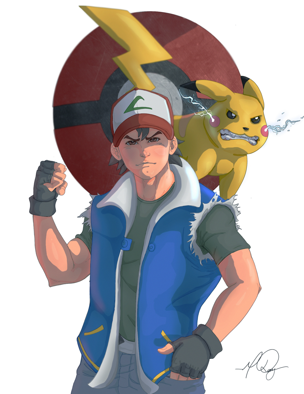 Ash And Pikachu by RAYN3R-4rt