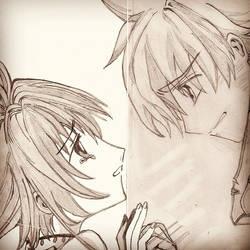 Syaoran and Sakura by hangbi