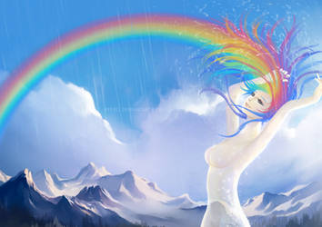 painting sky with rainbow by keerei