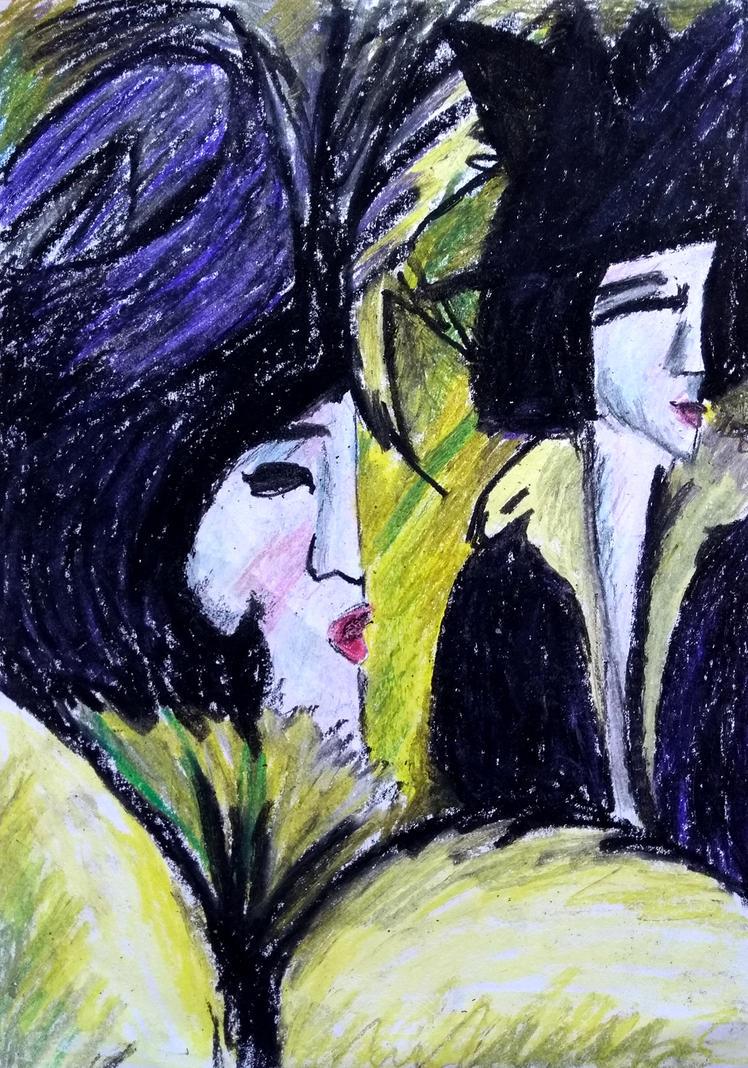 Detail: Kirchner - Fuenf Frauen auf der Strasse by Feuerlilie
