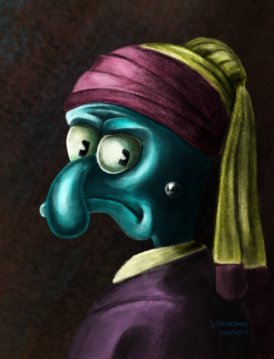 squidward with pearl earings by dtaskonak on deviantart