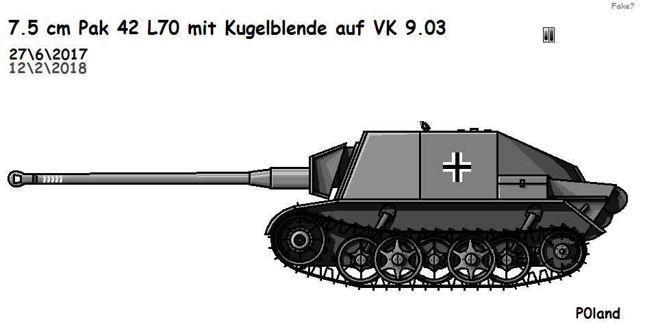 7.5 cm Pak 42 L70 mit Kugelblende auf VK 9.03 by P0landWW2