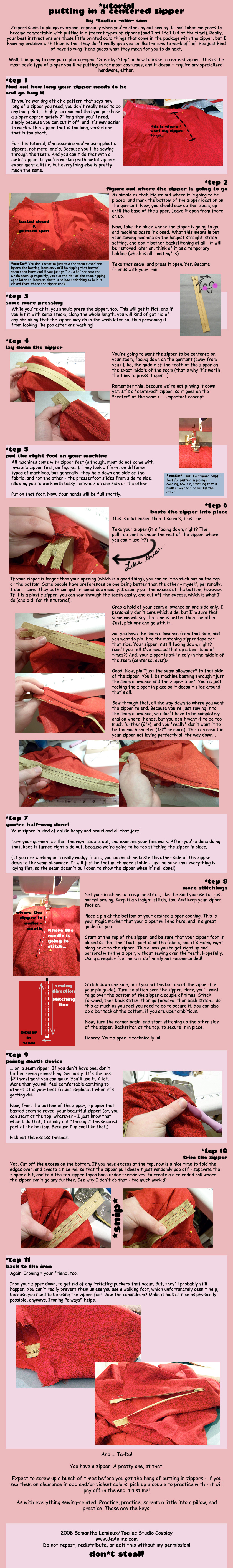 Tutorial: Centered zippers by taeliac