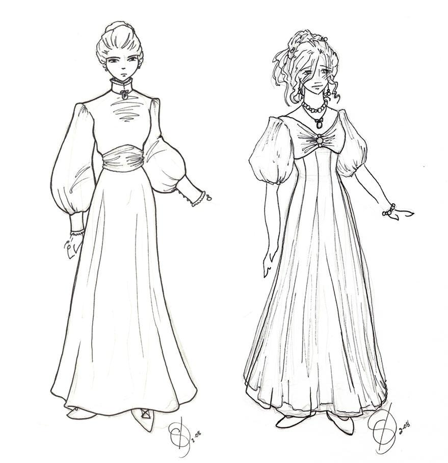 Costume Design: Wealthy Ladies by taeliac on DeviantArt