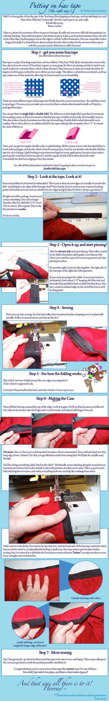 Tutorial: Putting on Bias Tape by taeliac