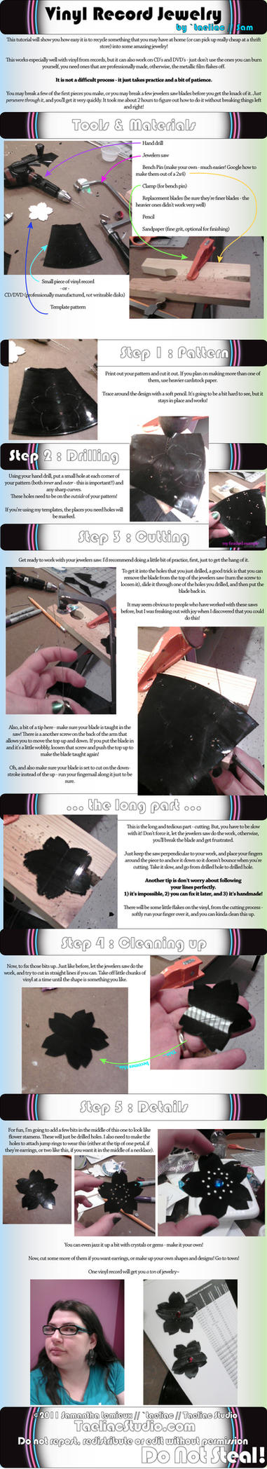 Tutorial: Vinyl Record Jewelry by taeliac