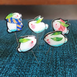 Snow bunny pins