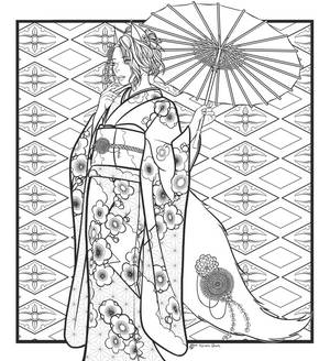 Kitsune Queen line art