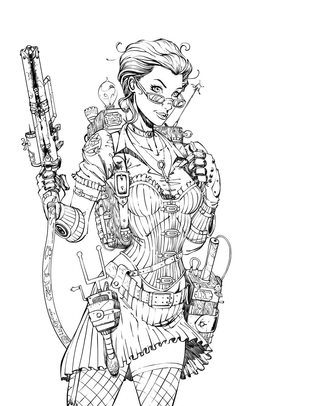 steampunk girl coloring pages - photo#21