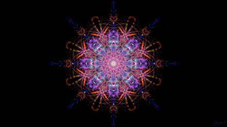 Raspberry Orange Starburst Mandala by shaych03