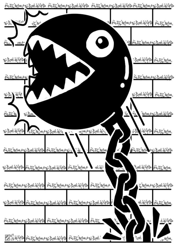 Chain Chomp (/r/dailynintendosketch) by professorhazard