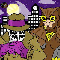 Rorschach and Nite Owl by professorhazard