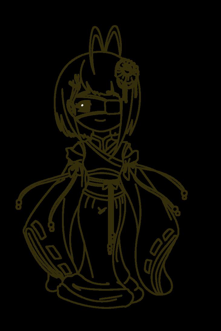 Kimono girl with eyepatch by MagicMoonBird