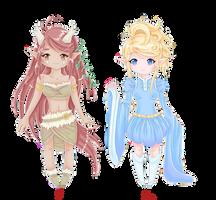 Two adoptable elf girls -open- by MagicMoonBird
