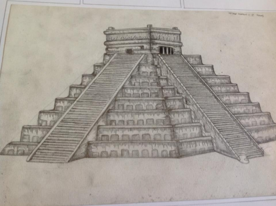 Mayan Temple Drawing By