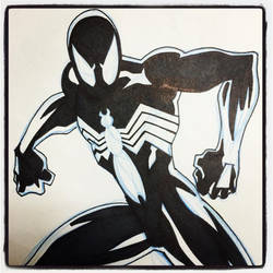 INKtober 14 Black Suit Spider-Man by BigDogsStudio