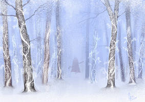 snowy forest by kojangee
