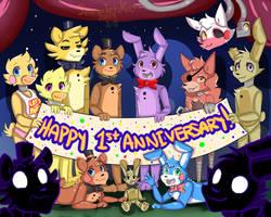 Happy 1st Anniversary FNAF!!!!!! by SnowTehKat