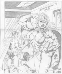 Power Girl and Superman by up2nogd1