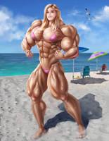 Bridgit Mendler Pecs on the Beach by gv-art by up2nogd1