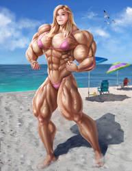 Bridgit Mendler Pecs on the Beach by gv-art
