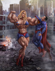 Bridgit Mendler defeats Superman by gv-art
