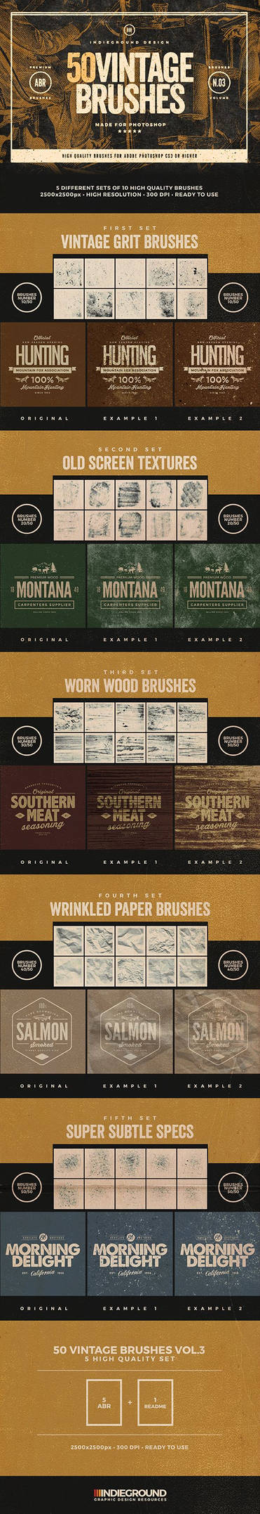 50 Vintage Photoshop Brushes Set Vol.3