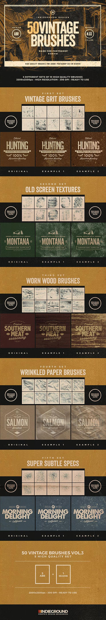 50 Vintage Photoshop Brushes Set Vol.3 by IndieGround