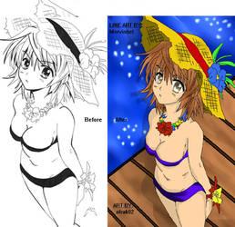 Riko Yuusaki - before and after by olrak02