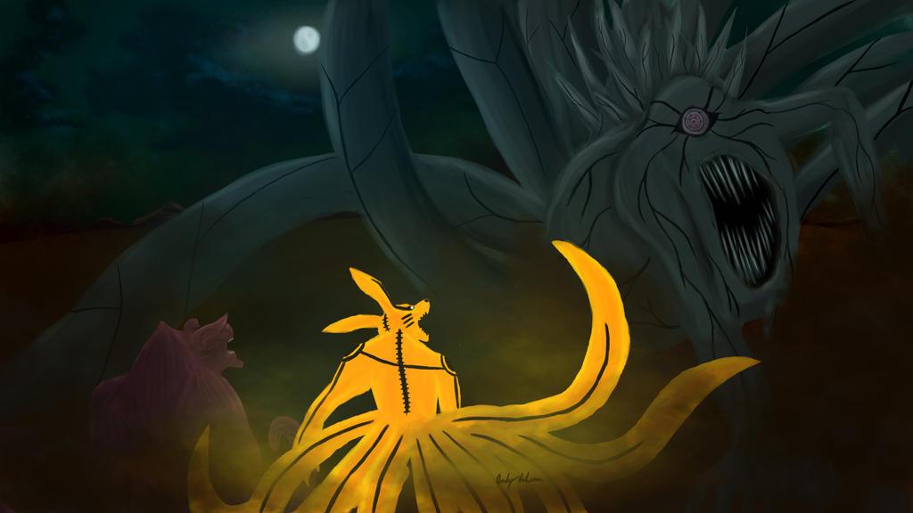 Ten Tails Vs Nine Tails Ten tails vs kurama   gyuki byTen Tails Vs Goku