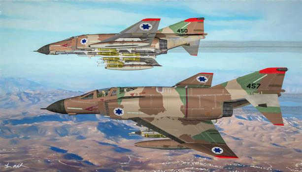 Israeli F-4B Phantom II's in Flight - Art