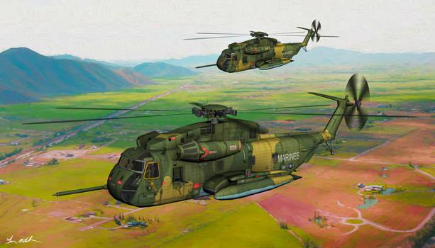USMC HH-53 Sea Stallion in Flight - art