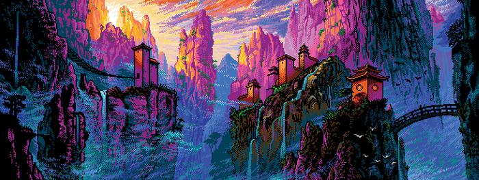 Pixel China Mountains