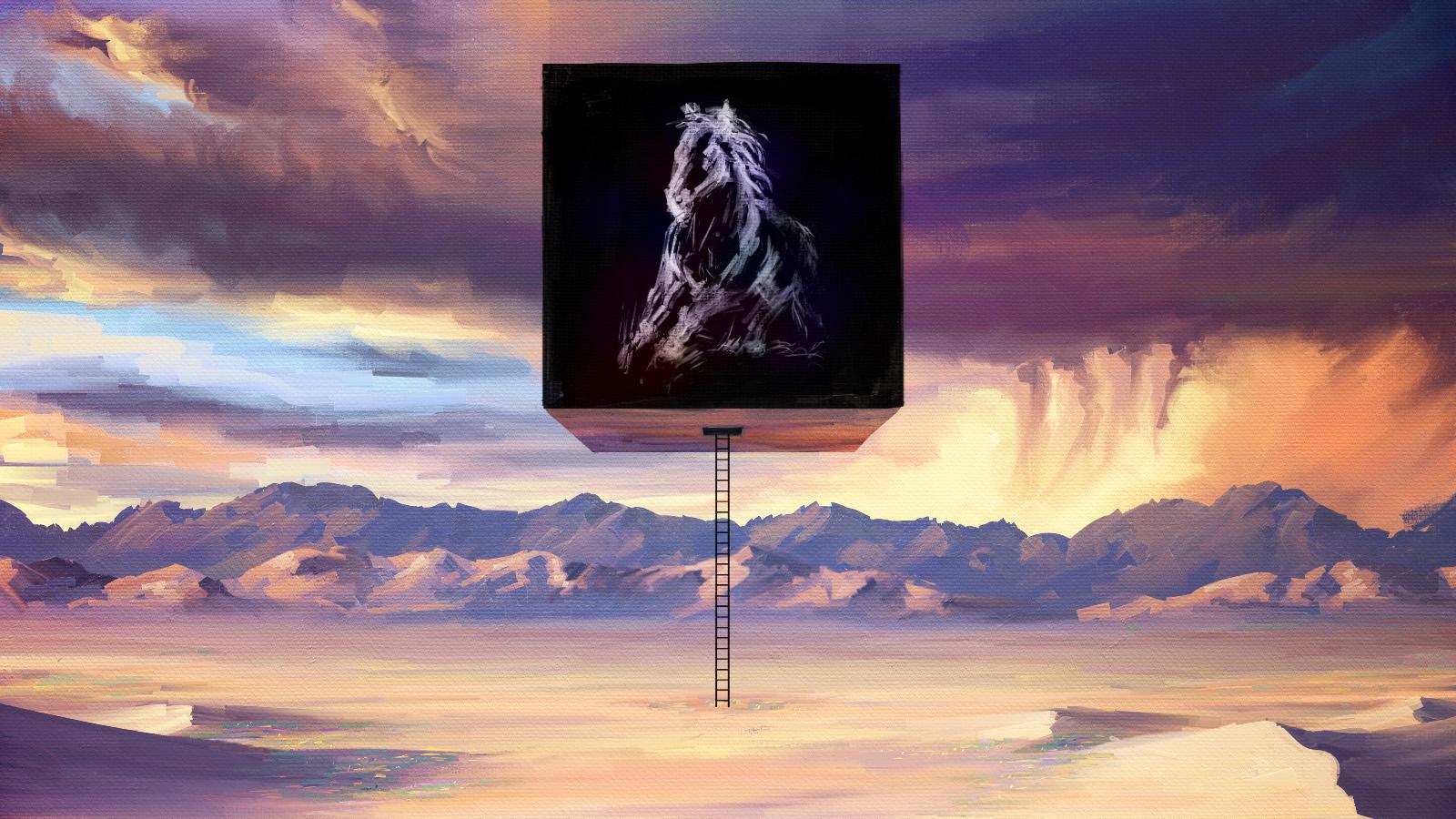 Desert, Cube, Ladder, Horse, Flowers, Storm