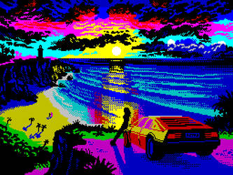 Cliff Sunset by Retronator
