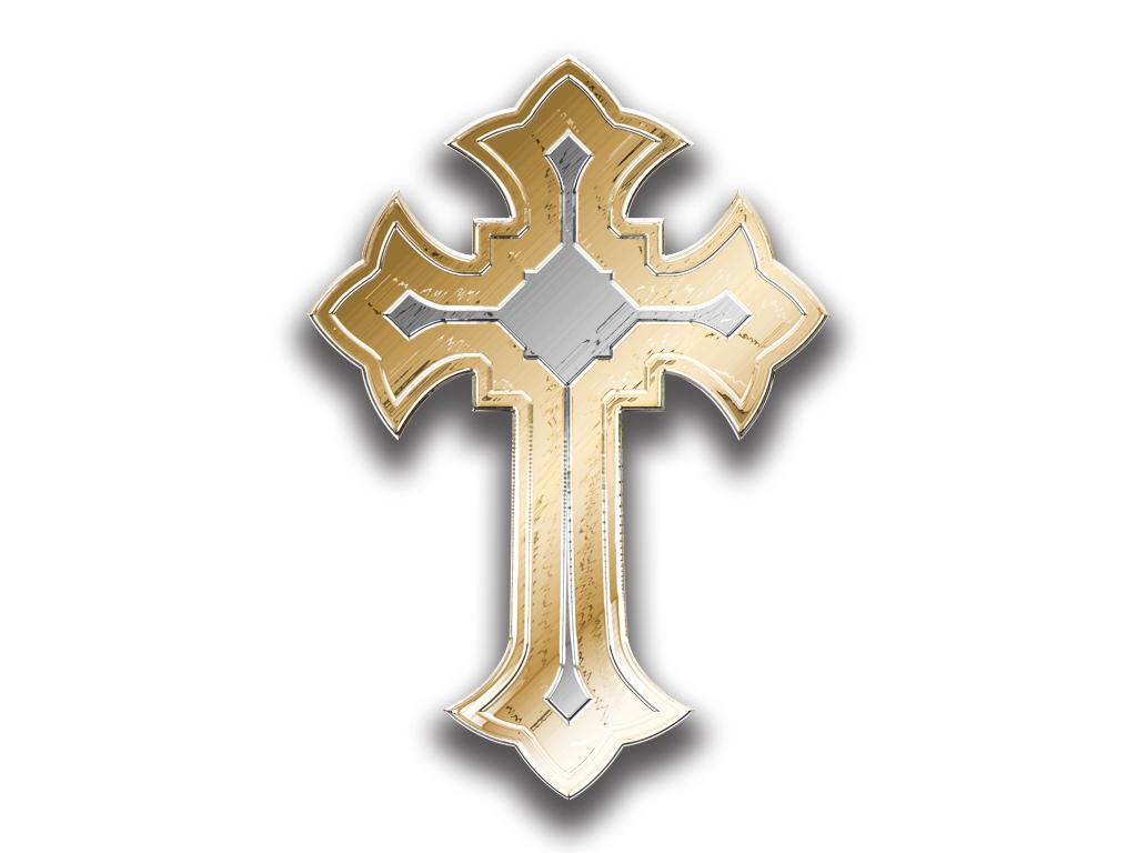 Religious Gold Cross On White Background. Vector Illustration ...