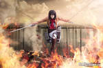Mikasa Ackerman from Attack on Titan cosplay Fire
